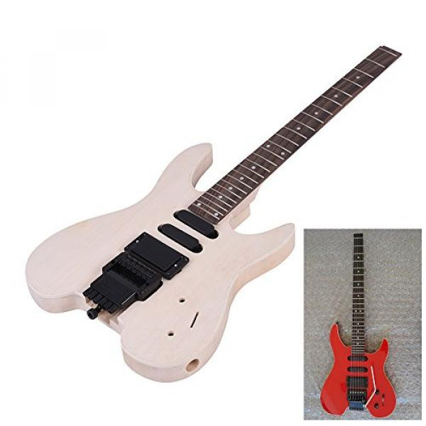 ammoon Unfinished DIY Electric Guitar Kit Basswood Body Rosewood Fingerboard Maple Neck Special Design Without Headstock #7 image