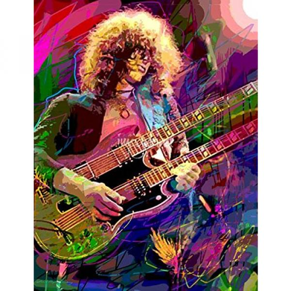 Wall Art Print entitled Jimmy Page Double Neck by David Lloyd Glover #1 image