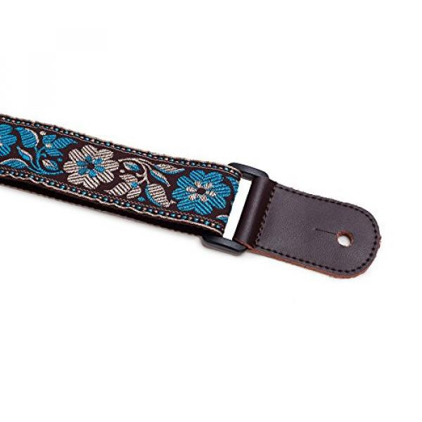 CLOUDMUSIC martin guitar case Colorful acoustic guitar strings martin Hawaiian martin strings acoustic Style martin acoustic guitar strings Cotton martin guitar accessories Ukulele Strap Blue White Flower (Brown) #2 image