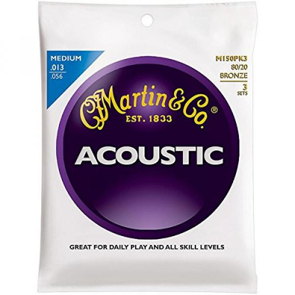 Martin martin guitar strings acoustic M150 martin acoustic strings 80/20 martin guitar strings Bronze acoustic guitar martin Medium martin acoustic guitar 3-Pack Acoustic Guitar Strings #1 image