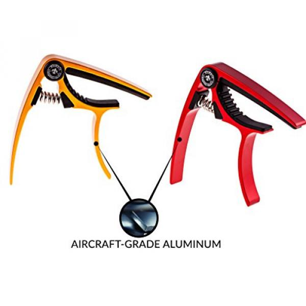 Guitar Capo (2 Pack) for Guitars, Ukulele, Banjo, Mandolin, Bass - Made of Ultra Lightweight Aluminum Metal (1.2 oz!) for 6 & 12 String Instruments - Nordic Essentials, (Red + Gold) #3 image