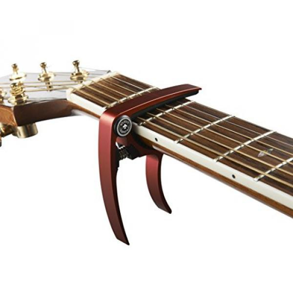 Guitar Capo (2 Pack) for Guitars, Ukulele, Banjo, Mandolin, Bass - Made of Ultra Lightweight Aluminum Metal (1.2 oz!) for 6 & 12 String Instruments - Nordic Essentials, (Red + Gold) #5 image