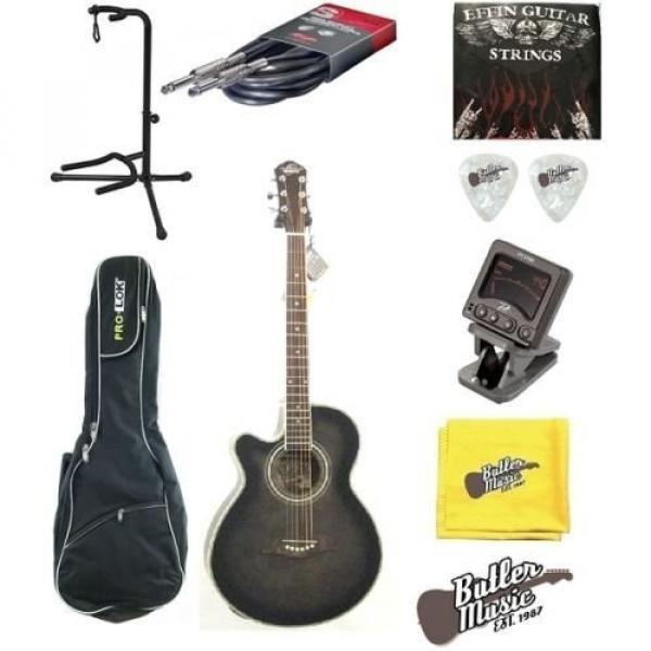 Oscar Schmidt OG10CEFTBLH Transparent Black Left-handed Acoustic Electric Guitar w/Gigbag and More! #1 image