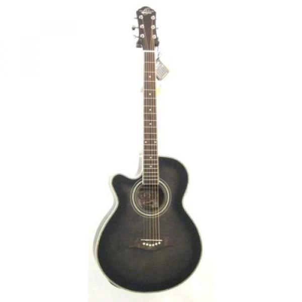 Oscar Schmidt OG10CEFTBLH Transparent Black Left-handed Acoustic Electric Guitar w/Gigbag and More! #2 image