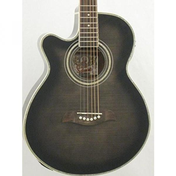 Oscar Schmidt OG10CEFTBLH Transparent Black Left-handed Acoustic Electric Guitar w/Gigbag and More! #3 image