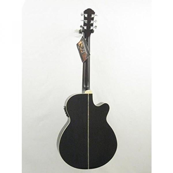 Oscar Schmidt OG10CEFTBLH Transparent Black Left-handed Acoustic Electric Guitar w/Gigbag and More! #5 image