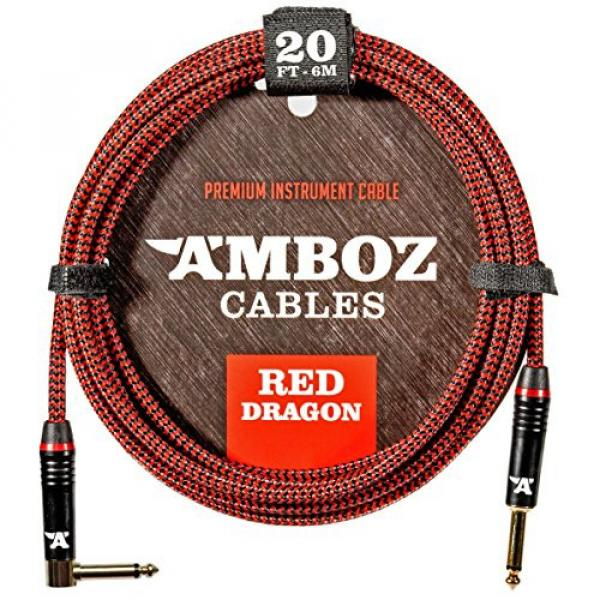 Red Dragon Guitar Cable - Sturdy and Ultra Flexible Instrument Cable For Electric and Bass Guitar Players, Super Noiseless. Used by Amateurs and Pros Alike - Gold Plugs - 20 Feet Straight-Rectangular #1 image