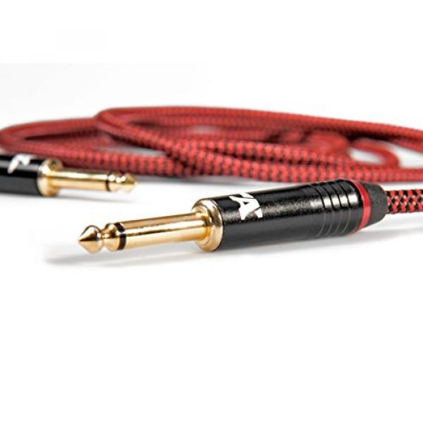 Red Dragon Guitar Cable - Sturdy and Ultra Flexible Instrument Cable For Electric and Bass Guitar Players, Super Noiseless. Used by Amateurs and Pros Alike - Gold Plugs - 20 Feet Straight-Rectangular #2 image