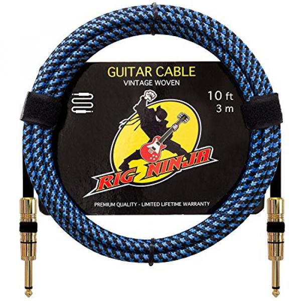 Rig Ninja Guitar Cable - Premium Musical Instruments Cable, Electric Guitar & Bass Guitar Cord - 10ft Recording Studio Quality Guitars & Bass Amp Cord, Heavy Duty Guitar Cords for Guitar Amps #1 image