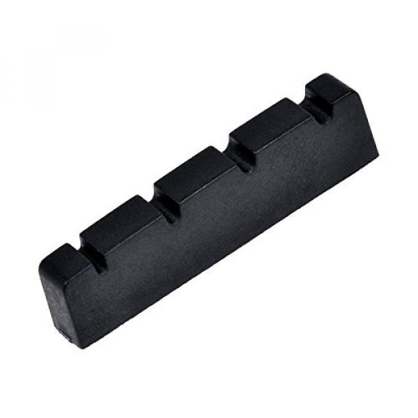 Kmise Bass Nut for 4 String Bass Electric Guitar Parts Replacement Slotted String Nut Black 42.5mm 1 Pcs #1 image