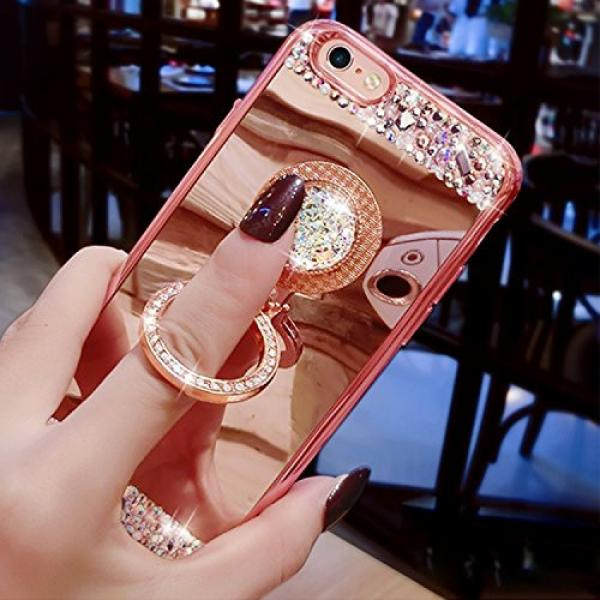 iPhone 6S Plus, iPhone 6 Plus Case, Bonice Luxury Crystal Rhinestone Soft Rubber Bumper Bling Diamond Glitter Mirror Makeup Case with Ring Stand Holder for iPhone 6s Plus / 6 Plus - Rose Gold #2 image