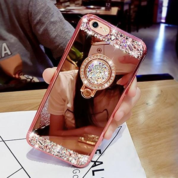 iPhone 6S Plus, iPhone 6 Plus Case, Bonice Luxury Crystal Rhinestone Soft Rubber Bumper Bling Diamond Glitter Mirror Makeup Case with Ring Stand Holder for iPhone 6s Plus / 6 Plus - Rose Gold #3 image