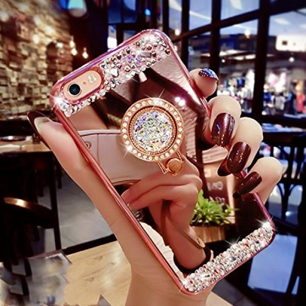 iPhone 6S Plus, iPhone 6 Plus Case, Bonice Luxury Crystal Rhinestone Soft Rubber Bumper Bling Diamond Glitter Mirror Makeup Case with Ring Stand Holder for iPhone 6s Plus / 6 Plus - Rose Gold #5 image