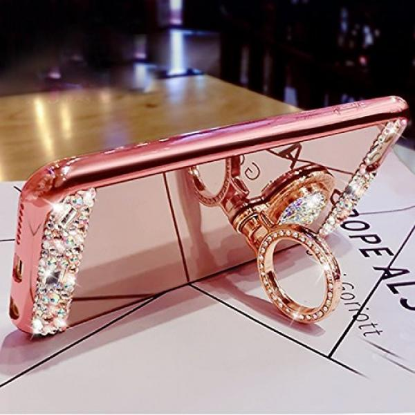 iPhone 6S Plus, iPhone 6 Plus Case, Bonice Luxury Crystal Rhinestone Soft Rubber Bumper Bling Diamond Glitter Mirror Makeup Case with Ring Stand Holder for iPhone 6s Plus / 6 Plus - Rose Gold #7 image