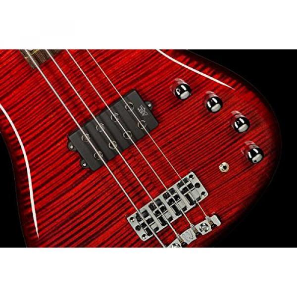 Warwick Custom Shop Corvette $$ Bass, Burgundy Red High Polish, AAAAA Flame, Fretboard LEDs #6 image
