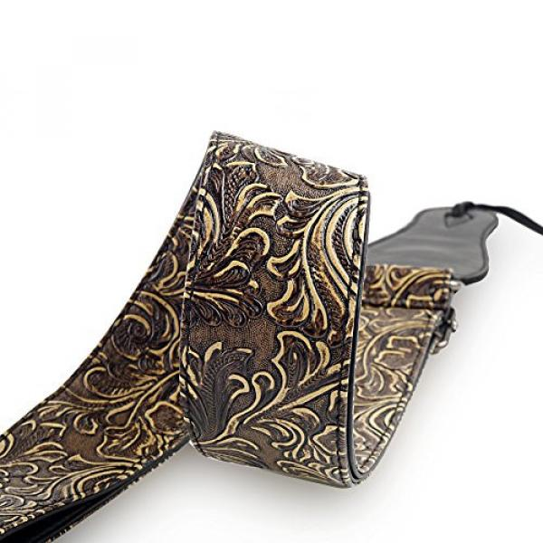 Guitar Strap, Vintage PU Guitar Strap,Wide Adjustment Range and Secure Leather Holes-Suitable for All Ages #1 image
