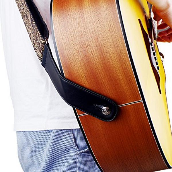 Guitar Strap, Vintage PU Guitar Strap,Wide Adjustment Range and Secure Leather Holes-Suitable for All Ages #4 image