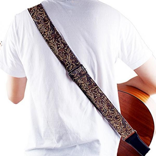 Guitar Strap, Vintage PU Guitar Strap,Wide Adjustment Range and Secure Leather Holes-Suitable for All Ages #5 image