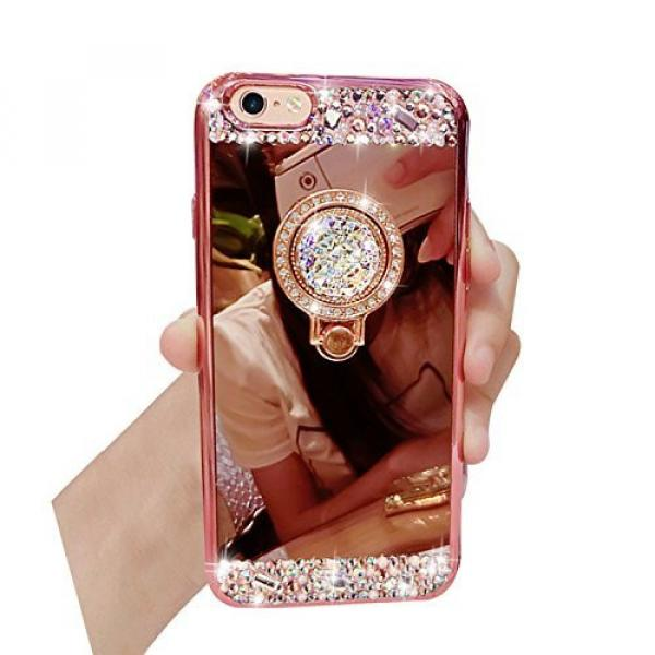 iPhone 6S Plus, iPhone 6 Plus Case, Bonice Luxury Crystal Rhinestone Soft Rubber Bumper Bling Diamond Glitter Mirror Makeup Case with Ring Stand Holder for iPhone 6s Plus / 6 Plus - Rose Gold #1 image