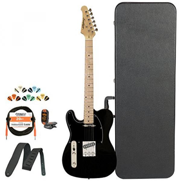 Sawtooth Classic ET 50 Ash Body Left Handed Electric Guitar Black w/Black pickguard, Case, Cable, Picks, Strap and Tuner #1 image