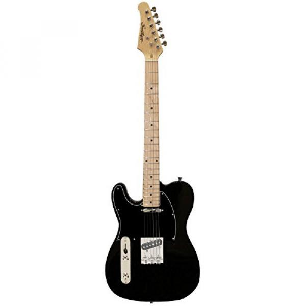 Sawtooth Classic ET 50 Ash Body Left Handed Electric Guitar Black w/Black pickguard, Case, Cable, Picks, Strap and Tuner #4 image