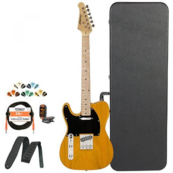 Sawtooth Classic ET 50 Ash Body Left Handed Electric Guitar Butterscotch w/Black pickguard, Case, Cable, Picks, Strap and Tuner #1 image