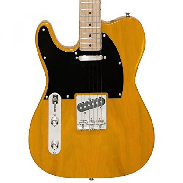 Sawtooth Classic ET 50 Ash Body Left Handed Electric Guitar Butterscotch w/Black pickguard, Case, Cable, Picks, Strap and Tuner #2 image