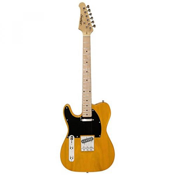 Sawtooth Classic ET 50 Ash Body Left Handed Electric Guitar Butterscotch w/Black pickguard, Case, Cable, Picks, Strap and Tuner #4 image