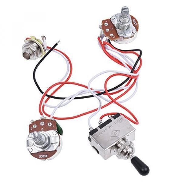 Kmise Electric Guitar Wiring Harness Kit 3 Way Toggle Switch 1v1t 500k Pots For Les Paul LP Parts 1 Set #1 image