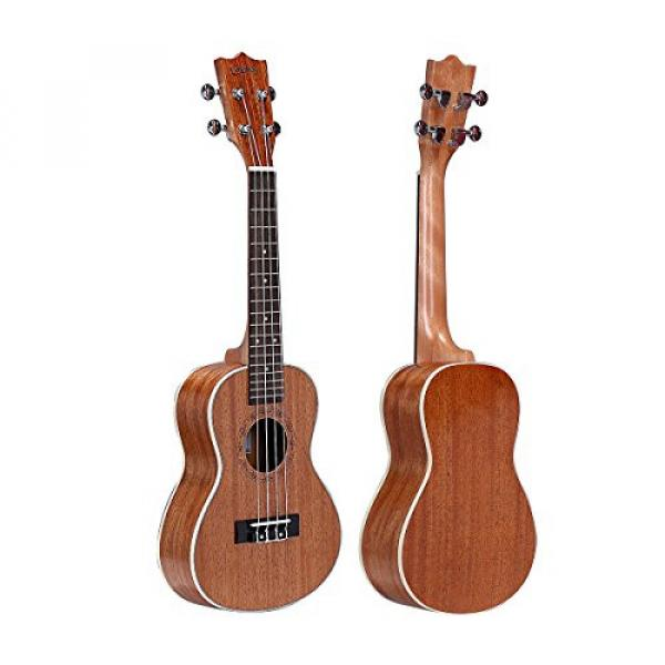 HOT SEAL 23in Guitar Shaped Handmade Carving Dapper Beginners Concerts Ukuleles Uke (23in, Mahogany No.1) #1 image