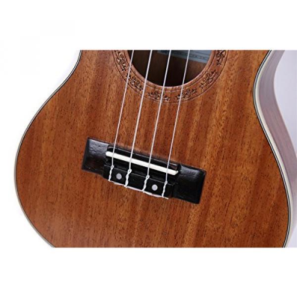 HOT SEAL 23in Guitar Shaped Handmade Carving Dapper Beginners Concerts Ukuleles Uke (23in, Mahogany No.1) #4 image