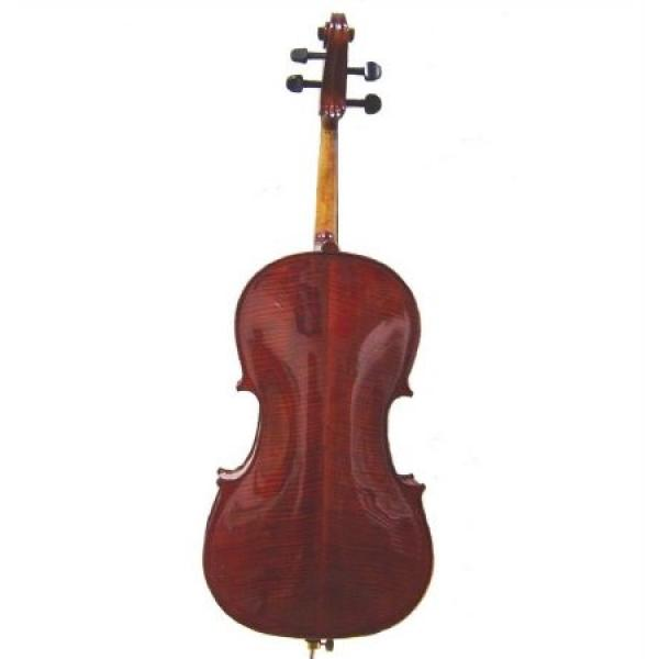 Merano MC500 4/4 Size Hand Made Solid Wood Ebony High Flamed Oil Varnished Cello with Bag and Bow+Free Rosin #1 image
