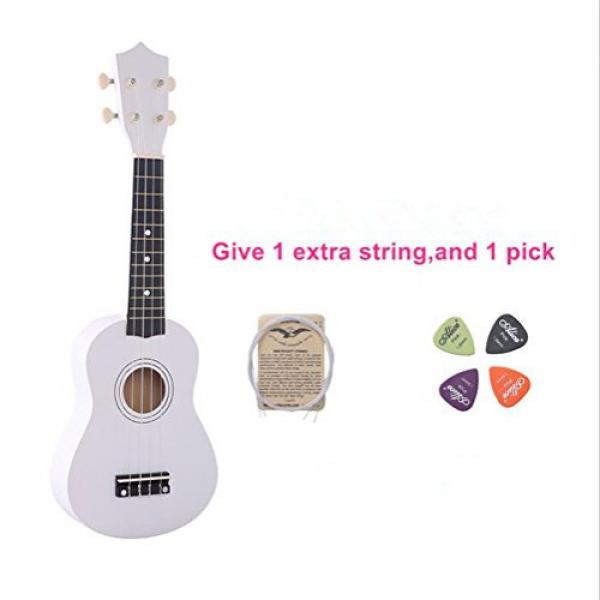 Youareking Kid's Wooden Ukulele 21 Inch Basswood Toy Ukulele for Beginner children Color Guitar in Wholesale Price (White) #1 image