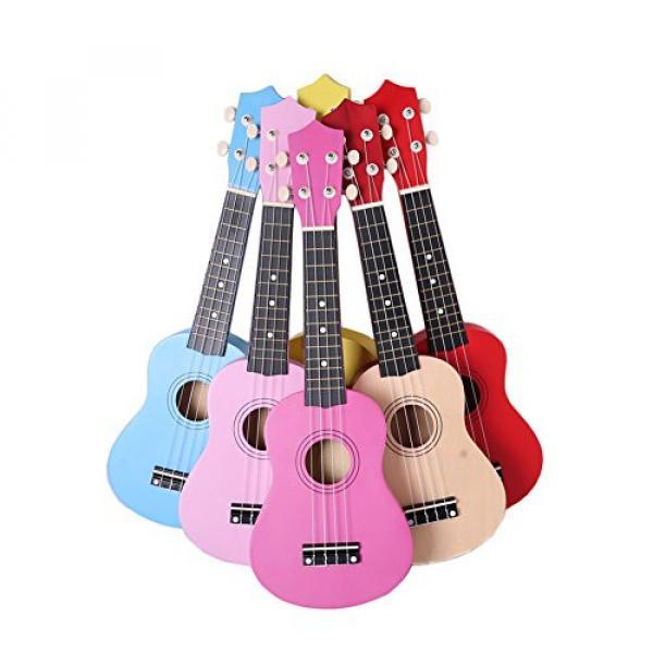 Youareking Kid's Wooden Ukulele 21 Inch Basswood Toy Ukulele for Beginner children Color Guitar in Wholesale Price (White) #2 image