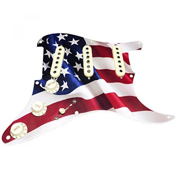 HDCustom Guitar Supply Loaded Pickguard for Stratocaster with DiMarzio True Velvet Pickups, Mojo Blend Pot, American Flag Graphic/Cream #1 image