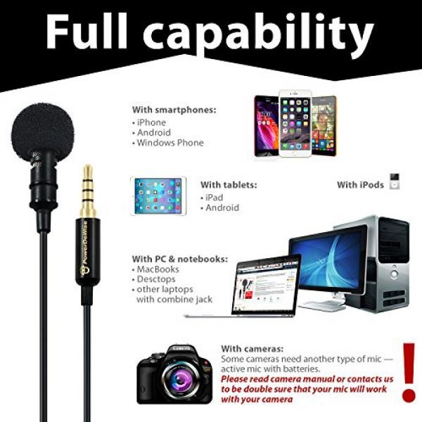 Professional Grade Lavalier Lapel Microphone ­ Omnidirectional Mic with Easy Clip On System ­ Perfect for Recording Youtube / Interview / Video Conference / Podcast / Voice Dictation / iPhone #7 image